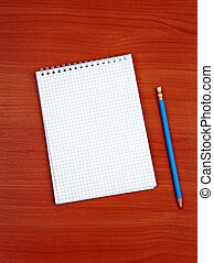 Writing Pad on the Table - Blank Writing Pad and Pen On The...