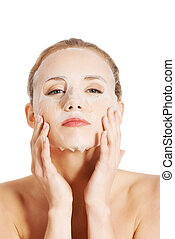 Beautiful woman with collagen mask. - Beautiful woman with...