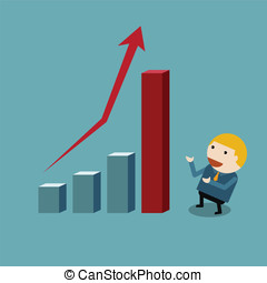 Businessman presentation of height chart statistic