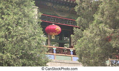 Balcony and Red Chinese Lantern - Traditional red Chinese...