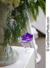wedding flower decor - wedding flower decor, puple orchid in...