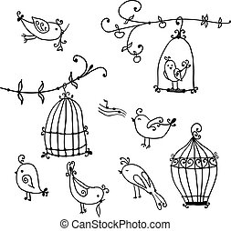 set of cute birds and branches of trees with birds cages