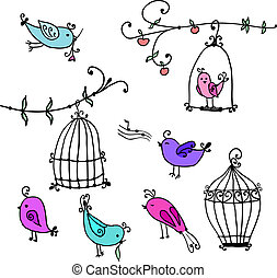 set of cute birds and branches