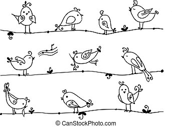 Set of cute birds in vector.