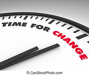 Time for Change - Clock - White clock with words Time for...