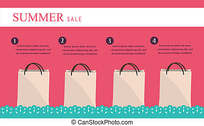 sale infographics with shopping bags