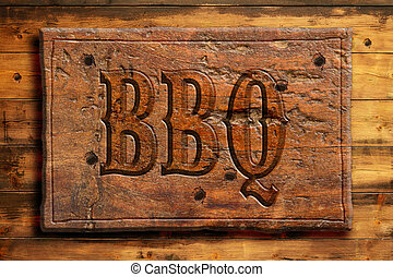 bbq poster - bbq panel on an old wooden wall