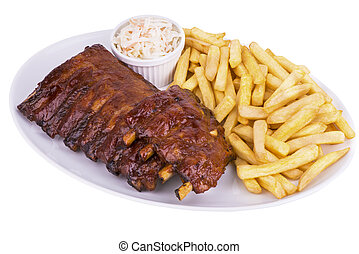 Pork ribs back with french fries and coleslaw salad on the...