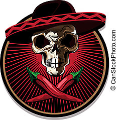 Mexican skull emblem or icon with a ghoulish bony skull...