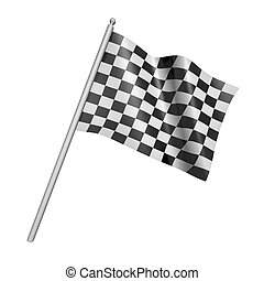 Checkered racing flag 3d illustration - Checkered racing...