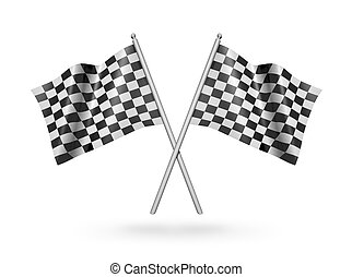 Checkered racing flags. 3d illustration - Checkered racing...