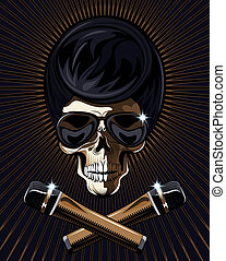 Rock star skull vector - Rock star skull with a macabre bony...