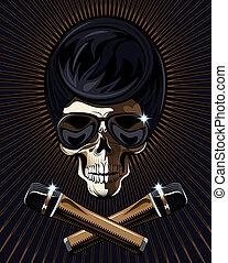 Rock star skull vector - Rock star skull with a macabre bony...
