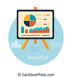 Stand with charts and parameters Business concept of...