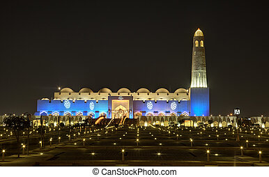 Grand Mosque in Doha at night. Qatar, Middle East