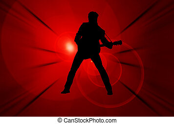 Performer - Illustration of a performer playing guitar over...