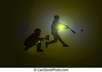 Baseball Players - Baseball players with silhouettes over...
