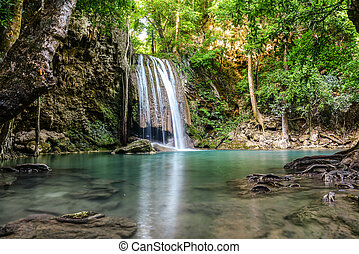 erawan waterfal - Waterfall beautiful erawan waterfall in...