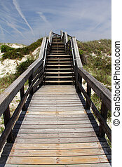 Stairs Over High Dune - Smyrna Dunes Park Boardwalk, New...