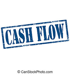 Cash Flow-stamp - Gruunge rubber stamp with text Cash...