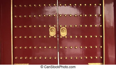 Red Chinese Doors with Gold Lion Handles - Traditional...