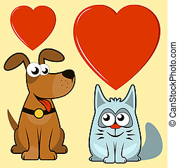 isolated dog and cat lovers - happy cartoon isolated dog and...