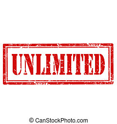 Unlimited-stamp - Grunge rubber stamp with text...