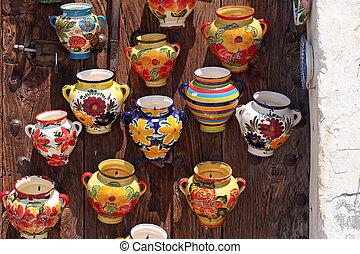 tradicional, Cerâmico, potes, Espanhol