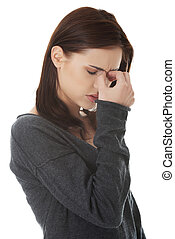 Woman with sinus pressure pain - Young woman with sinus...