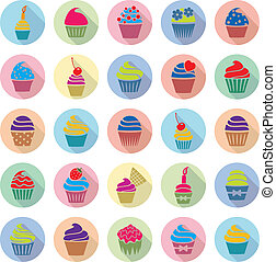 vector colorful cupcakes icons with flat shadow