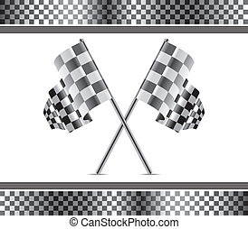 vector racing background and flags