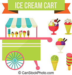 ice cream cart - Illustration of ice cream cart isolated in...