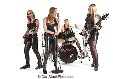 Portrait of female music band isolated over white background...