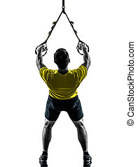 man exercising suspension training trx silhouette - one man...