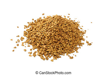 Instant Coffee Isolated on White Ba - A pile of granulated...