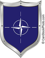 Shield with NATO flag - Shield with flag of North Atlantic...