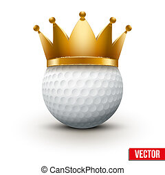 Golf ball with royal crown. King of sport. Traditional form...