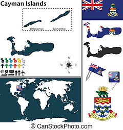 Map of Cayman Islands - Vector map of Cayman Islands with...
