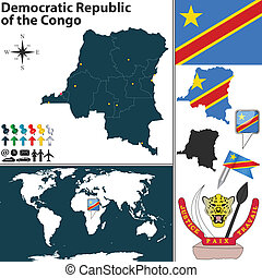 Map of Democratic Republic of the Congo - Vector map of...