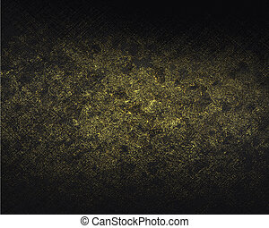Black grunge shabby background with gold Design template...