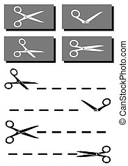 set coupon, scissors and dotted line - set coupon with...
