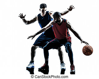 caucasian and african basketball players man silhouette -...