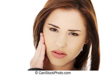 Adolescente, mujer, teniendo, terrible, diente, dolor