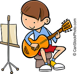 boy with guitar cartoon illustration - Cartoon Illustration...