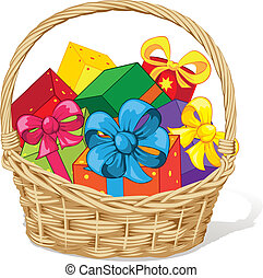basket full of gifts isolated on white background