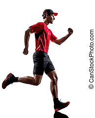 runner jogger running jogging silhouette - one young man...