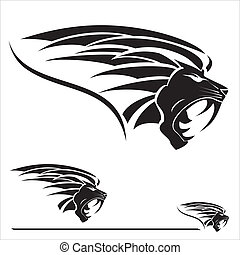 Lion Head with the extreme fang - This Illustration vector...