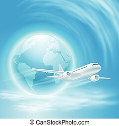 Illustration of airplane in the sky with the globe