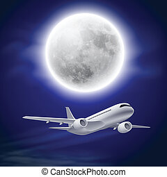 Airplane in the night sky with moon.