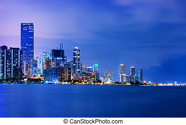 Miami city by night - Miami city skyline panorama at dusk...